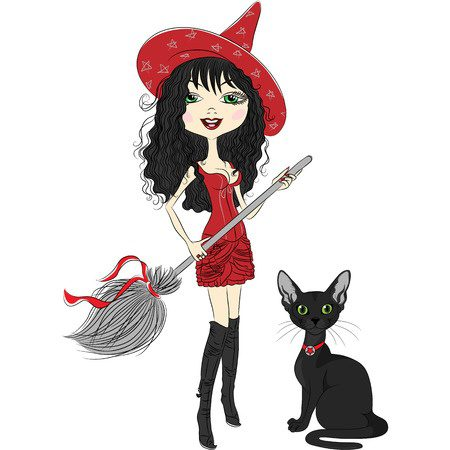 25123890 - vector cheerful beautiful girl witch in pointy red hat, red dress, black boots, with broom and black cat
