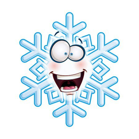 24885391 - cartoon illustration of a snowflake emoticon laughing with excitment.