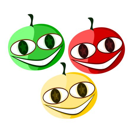 58987708 - three tomatoes - green, red and yellow - smiling, with cute funny face - simple stylized illustration - seasonal fruit - raw food.